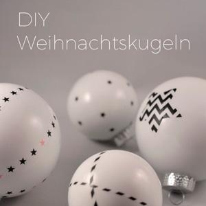 DIY Weiße Christbaumkugeln Weihnachtskugeln verziert mit Masking Tape