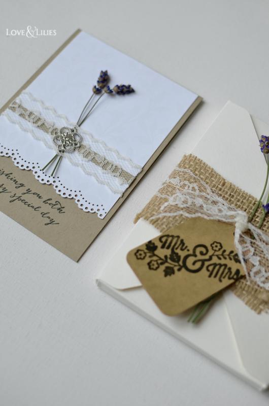 LoveAndLilies.de // Handmade Card: Hochzeitskarte mit frischem Lavendel und passender Kuvertbox Mr. & Mrs.