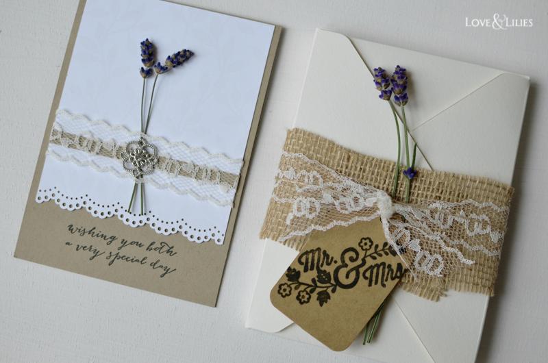 LoveAndLilies.de // Handmade Card: Hochzeitskarte mit frischem Lavendel und passender Kuvertbox