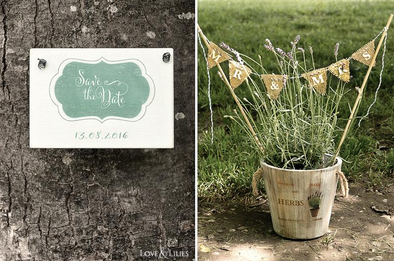 LoveAndLilies.de // DIY: Holzschild 'Save The Date' und Lavendel im Topf mit Minigirlande