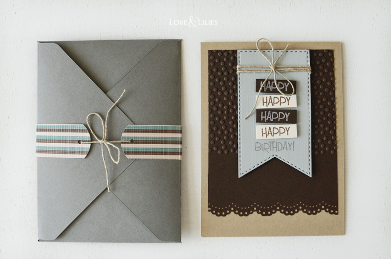LoveAndLilies.de // Geburtsagskarte für Männer mit DIY Kuvert und Banderole Happy Birthday