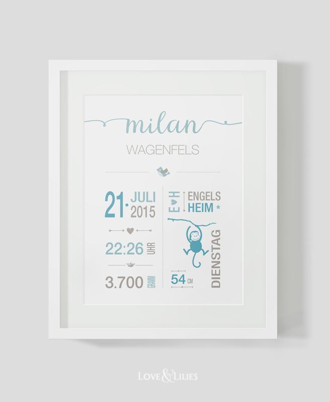LoveAndLilies.de // Print zur Geburt: Geburtskarte