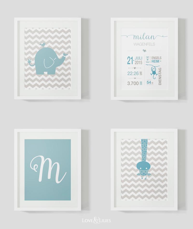 LoveAndLilies.de // Prints zur Geburt , Geburtstkarte, Elefant, Giraffe, M