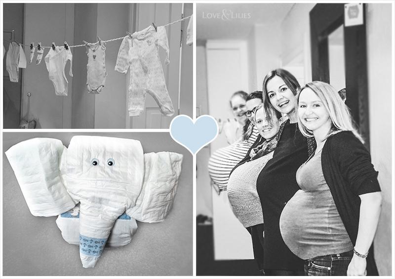 LoveAndLilies.de | Babyshower Babyparty Ideen: Windelelefant und Babysachen an der Wäscheleine