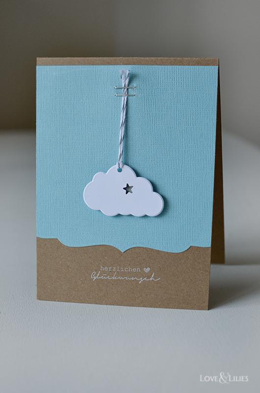 handmade eine s e wolkenkarte zur geburt love lilies. Black Bedroom Furniture Sets. Home Design Ideas