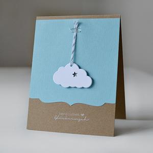 LoveAndLilies.de | Handmade/DIY: Eine selbstgemachte Karte mit Wolken zur Geburt eines kleinen Jungen