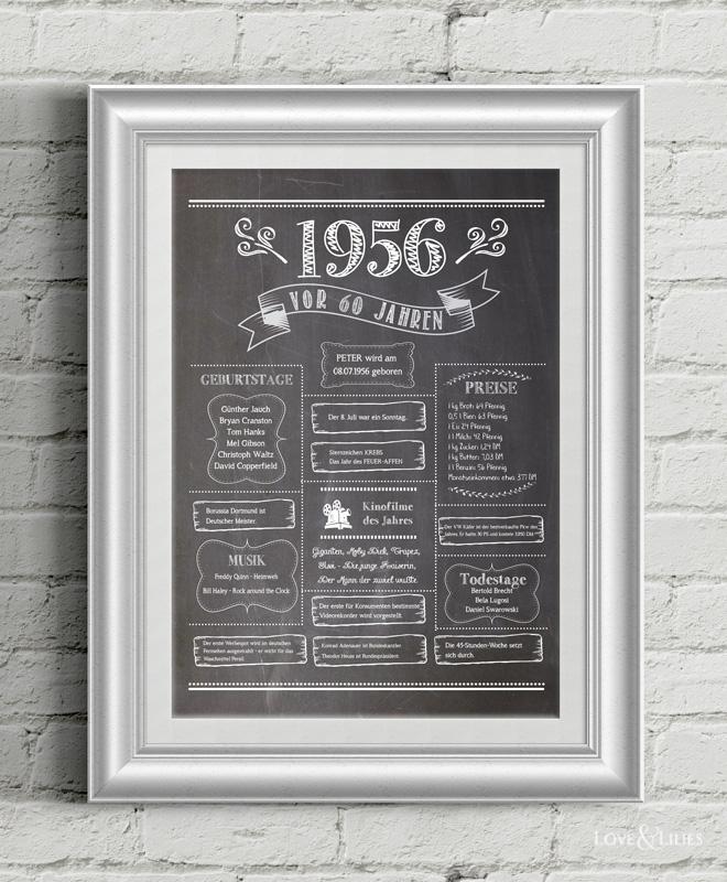 LoveAndLilies.de | Chalkboard 1956 zum 60. Geburtstag
