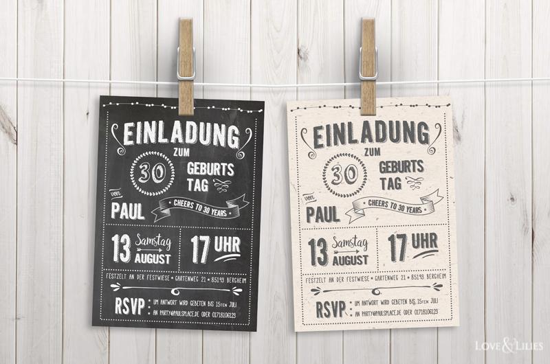 LoveAndLilies.de | Chalkboard Retro Einladung zum Geburtstag