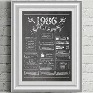 LoveAndLilies.de | Chalkboard 1986 zum 30. Geburtstag