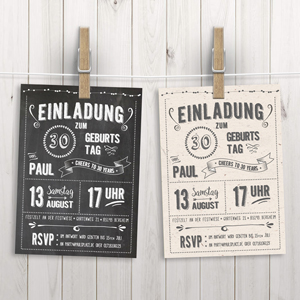 LoveAndLilies.de | Chalkboard Style Einladung zum 30. Geburtstag