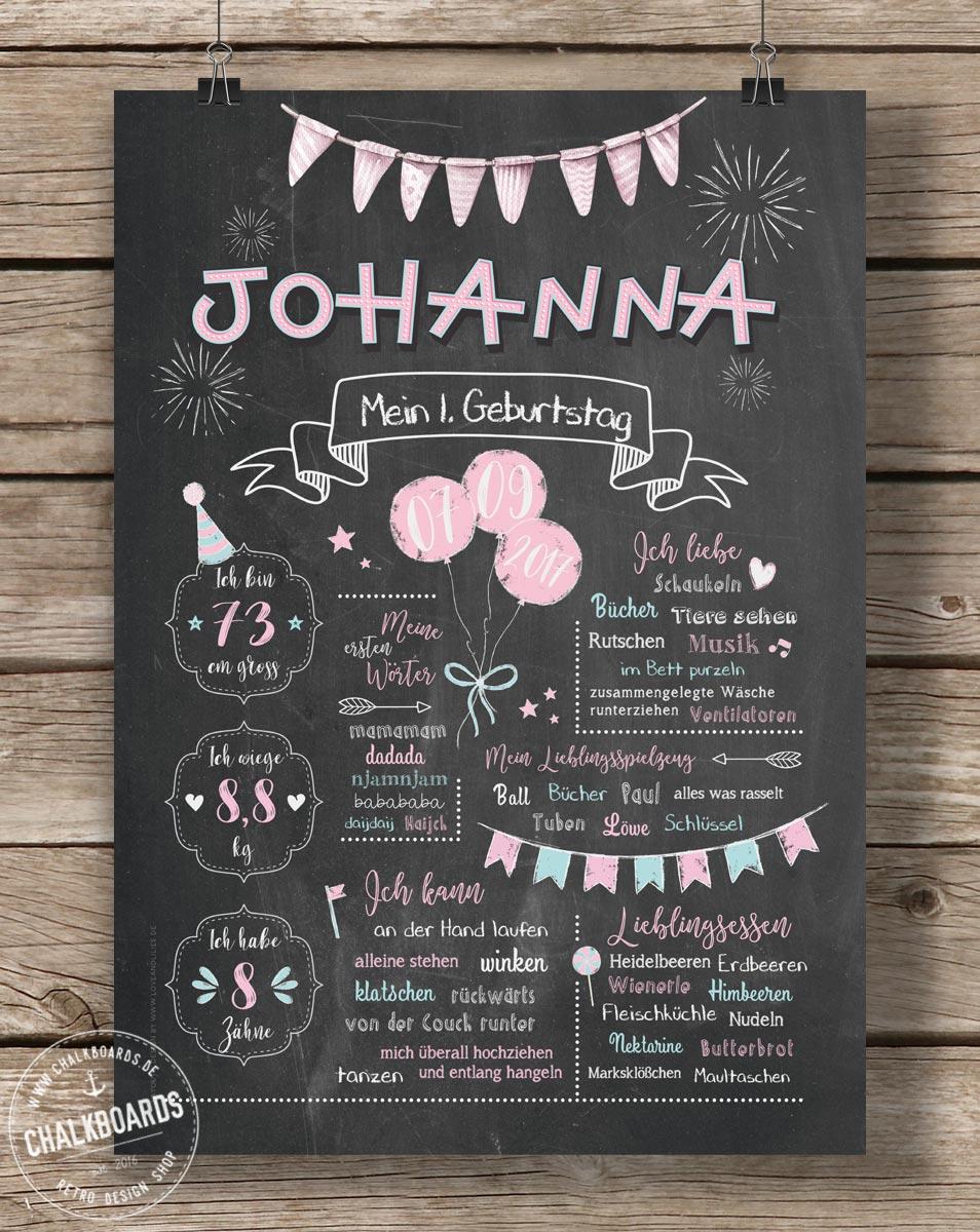 LoveAndLilies.de | Chalkboard zum 1. Geburtstag für Mädchen in rosa/taubenblau - JETZT KAUFEN bei Chalkboards.de