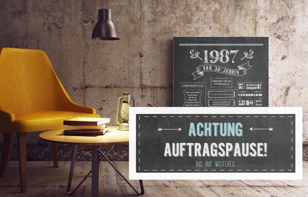 LoveAndLilies.de | Chalkboard Bestellung Auftragspause