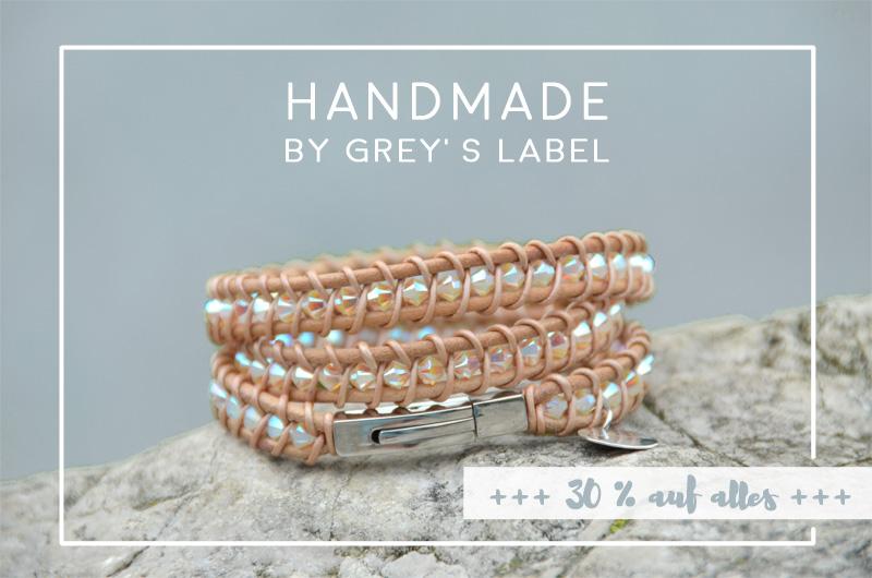 LoveAndLilies.de | Handmade Lederarmband von grey's label mit Swarovski-Perlen / Wickelarmband