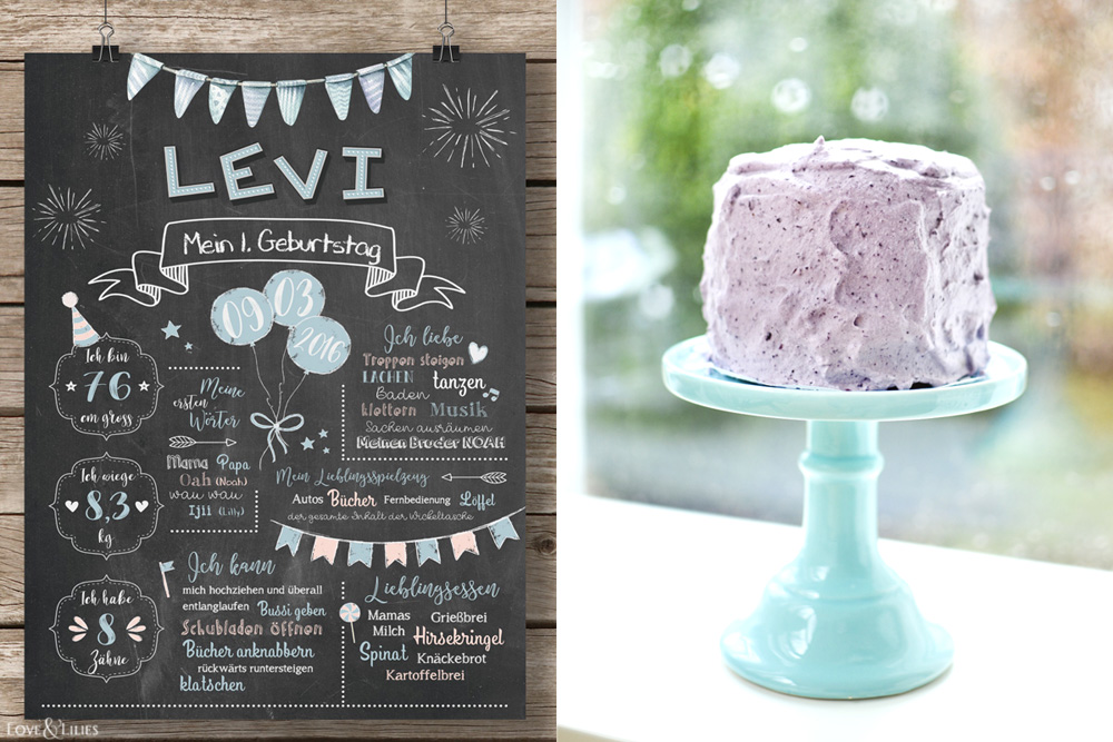 LoveAndLilies.de | Ein Chalkboard zum 1. Geburtstag und ein gesunder Bananen-Apfelmus-Kuchen mit Blaubeersahne. Sieht nicht nur toll aus, sondern schmeckt auch noch besonders gut. Außerdem ein paar Geschenkideen zum Kindergeburtstag auf loveandlilies.de