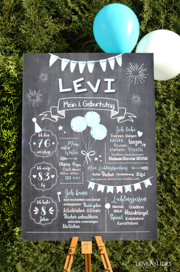LoveAndLilies.de | Chalkboard zum 1. Geburtstag, Erhältlich in verschiedenen Formaten bei LoveAndLilies.de