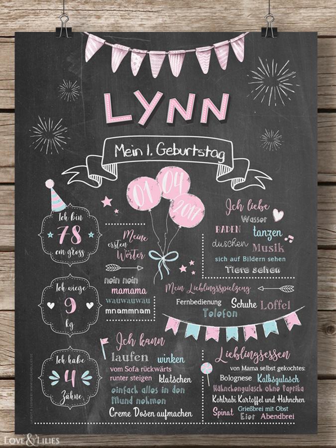 LoveAndLilies.de / Süßes Baby Geburtstags Chalkboard zum 1. Geburtstag für Mädchen rosa/türkis