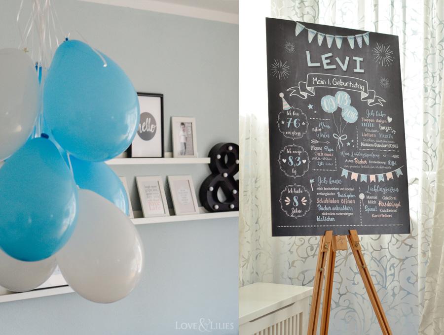 LoveAndLilies.de | Chalkboard zum 1. Geburtstag / Poster zum Kindergeburtstag
