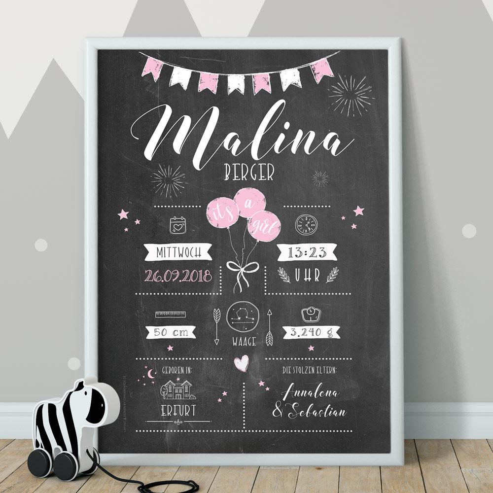 Geburtsposter, Chalkboard, Babyposter, Poster zur Geburt, Retrodesign