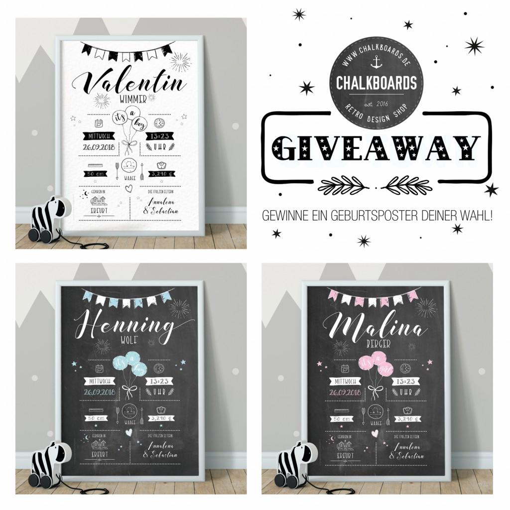 Gewinnspiel, Giveaway, Geburtsposter weiss, Whiteboard, Chalkboard, Babyposter, Poster zur Geburt, Retrodesign