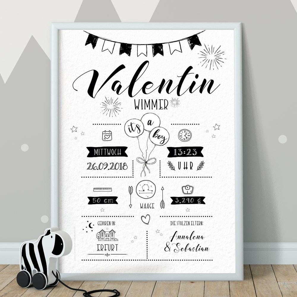 Geburtsposter weiss, Whiteboard, Chalkboard, Babyposter, Poster zur Geburt, Retrodesign