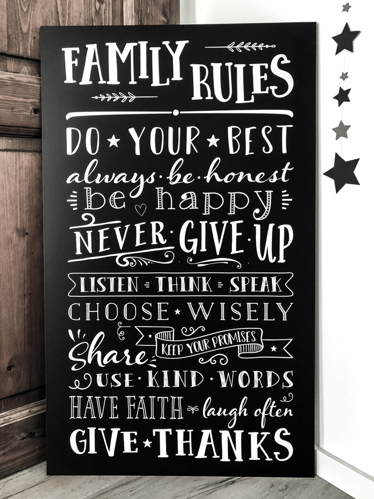 Family Rules Chalkboard Familienregeln
