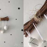 LoveAndLilies.de // Zimtstangen, Weiße Christbaumkugeln / Weihnachtskugeln verziert mit Masking Tape