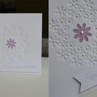 Weihnachtskarten Schneefllocken Perlen Blumen