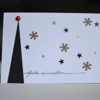 DIY Weihnachtskarten Tannenbaum Sterne