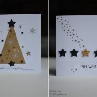 Weihnachtskarten DIY Tannenbaum, Sterne