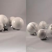 LoveAndLilies.de // Weiße Christbaumkugeln Weihnachtskugeln verziert mit Masking Tape
