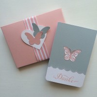 Karte 'Danke' grau rosé mit Schmetterling