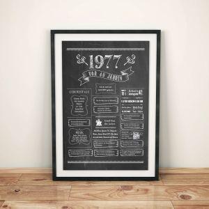 LoveAndLilies.de / Geburtstags Chalkboard 1977 im Retro Stil