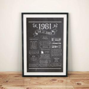 LoveAndLilies.de / Geburtstags Chalkboard 1981 im Retro Stil