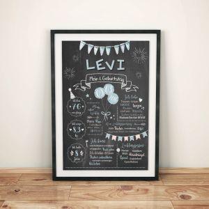 LoveAndLilies.de | Chalkboard zum 1. Geburtstag für Jungen in hellblau/peach